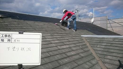 9-1屋根 下塗り施工中